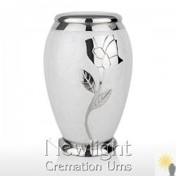 White Pearl Rose Urn