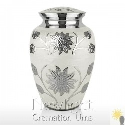 White Lotus Flower Urn