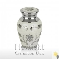 White Lotus Flower Mini Urn (3inch)