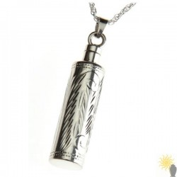 Mayfair Engraved Cylinder - Sterling Silver Ash Pendant