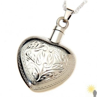 Mayfair Engraved Heart - Sterling Silver Ash Pendant