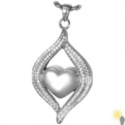 Kensington Heart In Teardrop - Sterling Silver Ash Pendant