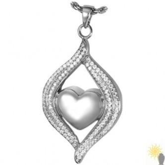 Kensington Heart In Teardrop - Sterling Silver Ash Pendant