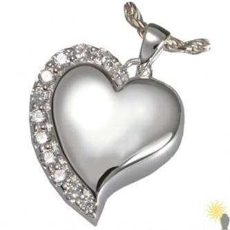 Kensington Crystal Edge Heart - Sterling Silver Ash Pendant