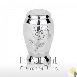 White Pearl Rose Mini Urn (3inch)