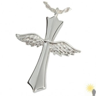 Kensington Cross With Angel Wings - Sterling Silver Ash Pendant