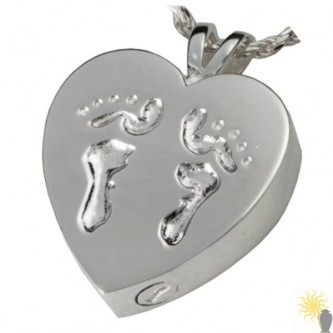 Kensington Heart With Baby Feet - Sterling Silver Ash Pendant