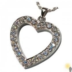 Kensington Heart With Crystal Stones - Sterling Silver Ash Pendant