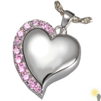 Kensington Pink Crystal Edge Heart - Sterling Silver Ash Pendant