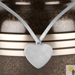 Heart Shaped Pewter Urn Medallion