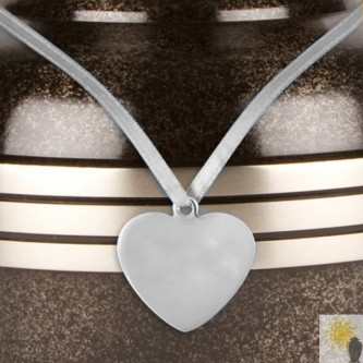 Heart Shaped Pewter Urn Medallion